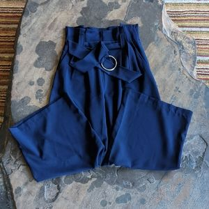 Aqua Paperbag-Waist Wide-Leg Pants Navy Sz  XS NWT